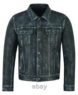 Mens Trucker Jacket Navy Vintage Real Leather Bikers Classic Western Jacket 1280