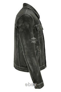 Mens Truckers Real Leather Jacket Black Vintage Napa Classic Western Style 1280