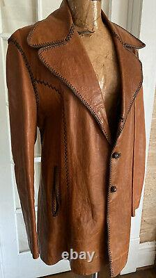 Mens Vintage Long Brown North Beach Leather Jacket Made In Mexico