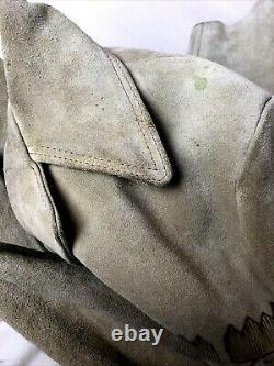 Mexican Ranch Jacket Embellished Suede Leather Mens sz Large Vtg Western Boho