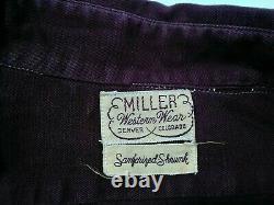 Miller Western Wear Denim Shirt Mens L-XL 1940s Sanforized withGussets Inv#Z2056