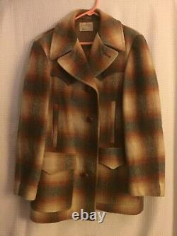 Minty PENDLETON Mens Vintage WESTERN WEAR Wool Coat Jacket Mens L shadow Plaid