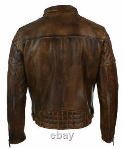 NOORA Mens Vintage Real Leather Biker Jacket Cross Zip Retro Style All Size