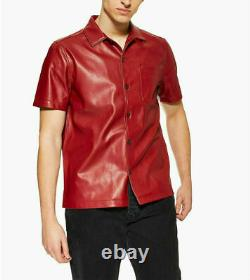 Noora Men's Genuine Lambskin Leather Indian style tomato Red Shirt fit jacket P8