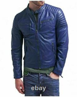 Noora Men's Vintage Retro Cafe Racer Motorcycle Brando Blue Leather Jacket SP2