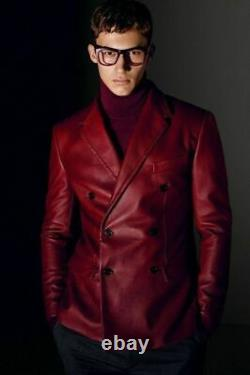 Noora Mens Leather Blazer Coat Genuine Lambskin Soft Double Breasted RED Jacket