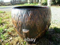 Old Western Stoneware Monmouth, Illinois Twigs Tree Bark Footed Jardiniere Large