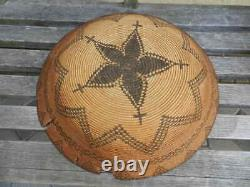 Outstanding Large Antique Native American Western Apache Basket Tray, 16