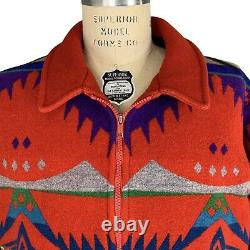Pendelton High Grade Western Wear Red Wool Bomber Jacket Mens Size L Made in USA