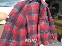 Pendleton High Grade Western Wear WOOL Jacket Coat Cruiser Mens Large Plaid A+++