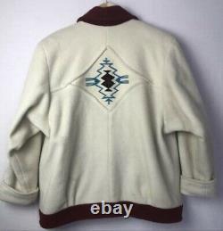 Pioneer Wear Chimayo Wool Blanket Jacket Women's sz L Vtg USA made Southwest