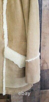 Pioneer Wear Mens Large Coat Western Sherpa Beige Suede Leather Jacket