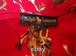 RALPH LAUREN VTG DENIM BATHROBE Western Flannel Print Cowboys Stagecoach L Polo