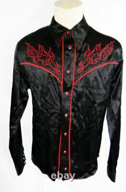 RED BLACK satin Flame fire embroidered cowboy western shiny shirt large ratrod