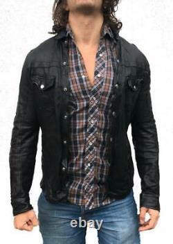 ROXA Mens Lambskin Leather Slim Shirt Full Sleeve Button Biker Motorcycle Jacket