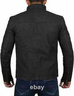 ROXA NEW Men's Stylish Suede Genuine Leather Jacket Motorcycle Zipper Black Coat