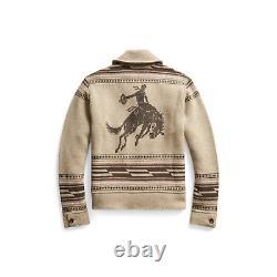 RRL Ralph Lauren Shawl Tan Western Cowboy Pattern Cardigan L Large