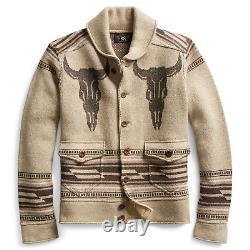 RRL Ralph Lauren Shawl Tan Western Cowboy Pattern Cardigan XL Extra-Large
