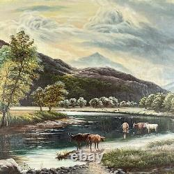 RUSTY JONES Large Vintage Western Country Landscape Cow Herd Oil on Canvas