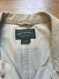 Ralph Lauren POLO COUNTRY Khaki jean jacket withCorduroy collar Large Made In USA