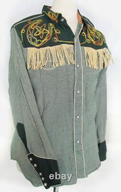 Rare Vintage Las Vegas Cowboy Joe Fringe Embroidered Western Shirt Size L