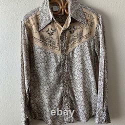 Rare Vtg 60s 70s Mickey Floral Western Disco Mod Shirt Kennington Burlap