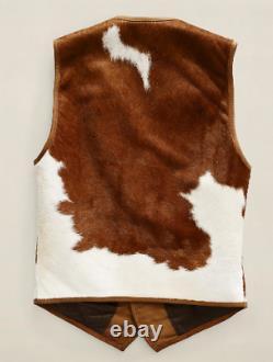 Real Cowhide Fur Leather/ Natural Hairy Skin/ Vintage Western Vest Waistcoat
