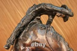 Remington Bronze Sculpture Rattle Snake Signed Statue Cowboy Western Horse LRG