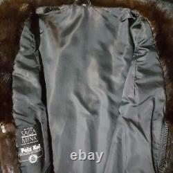 Saga Minksz Lvintage Genuine Real Deep Brown Ranch Full Length Mink Fur Coat