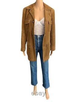 Saratoga 70s Vintage Coat Brown Sherpa Coat Corduroy Chore Coat Womens Large
