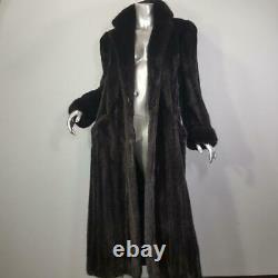 Stunning Vintagesz Lgenuine Mink Fur Black Brown Ranch Full Length Coat Jacket