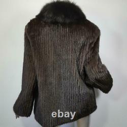 Stunningl/xlvintage Genuine Real Black Brown Mink Fox Fur Tuxedo Coat Jacket