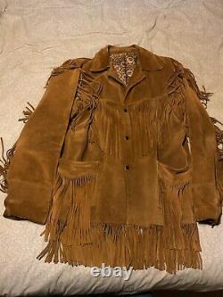 Suede fringed Buffalo Bill cowboy western mountain man jacket, large FREE SHIP