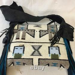 The Western Trading Post, Navajo Textile Purse Great Leather Fringe and Trim