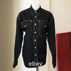 VERSACE JEANS SIGNATURE black cotton western women's shirt with gold stitch size L