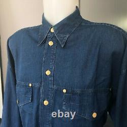 VERSACE JEANS SIGNATURE men's shirt blue cotton western size Large