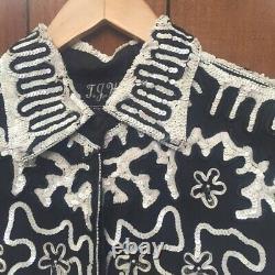 VINTAGE Black White Sequin Beaded Jacket Blouse 80's 1980's T. J. Western