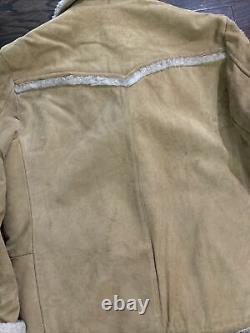 VINTAGE The Leather Shop Sears Suede Ranch Jacket Coat Mens L Sherpa Lined Vtg