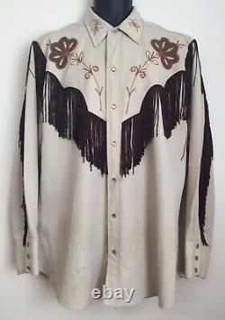 VTG 1970s H BAR C Ranchwear Rodeo Western Shirt Fringe Pearl Snaps Tan/Brown LRG