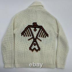 VTG 60-70s Heavy Knit Western Miller Outerwear Aztec Eagle Sweater Cardigan L