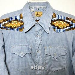 VTG 70s Sears Western Wear Men L Embroidered Colorado Pearl Snap Shirt Rodeo