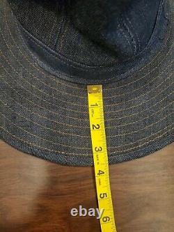 VTG Mens Selvage Denim Wide Brim Hat Miners Military Western Panama Cowboy Large