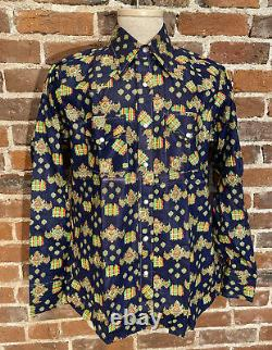 VTG NOS 50s 60s Mens Collar Shirt Allover Print Western Ely Pearl Snaps Large