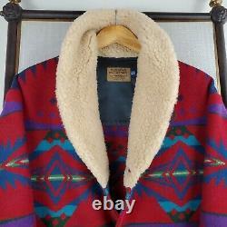 VTG PENDLETON Size 42 Large Wool Shearling Shawl Southwest Aztec Jacket Mens