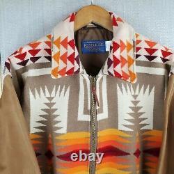 VTG PENDLETON Size Large Made in USA Wool/Leather Aztec Southwest Bomber Jacket