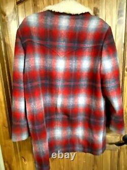 VTG PENDLETON Wool Shadow Plaid Western Ranch Coat Jacket USA Mens Size 42 Nice