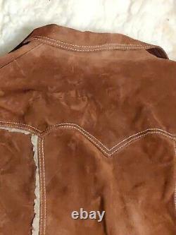 VTG Pioneer Wear Leather Suede Sherpa Western Mountain Man Mens Coat 46L