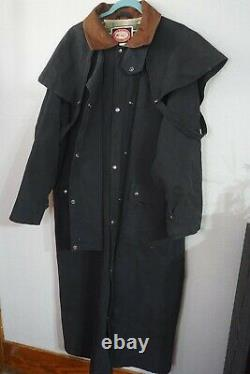 VTG The Australian Outback Collection Black Duster Cape Western Coat Mens Large