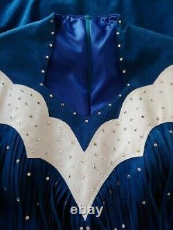 VTG WESTERN PAGEANT DRESS GOWN Hi End Custom Fringe SPARKLE Suede BLUE LG