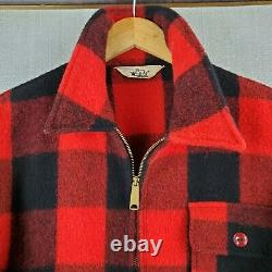 VTG WOOLRICH USA Size Large Mens Wool Zip Front Plaid Mackinaw Jacket Coat Red